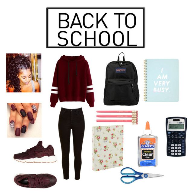 """""""Back to School Set #1🏫📙📒📝✂📏"""" by shekb ❤ liked on Polyvore featuring Lee, NIKE, JanSport, Miss Selfridge, Go Stationery and WMF"""