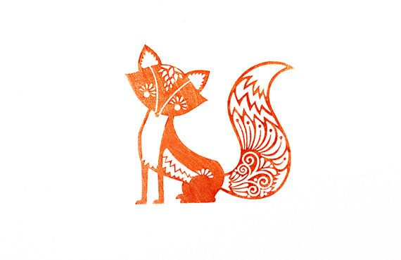 Fancy Fox Rubber Stamp With Wood Backing on Etsy, $17.99