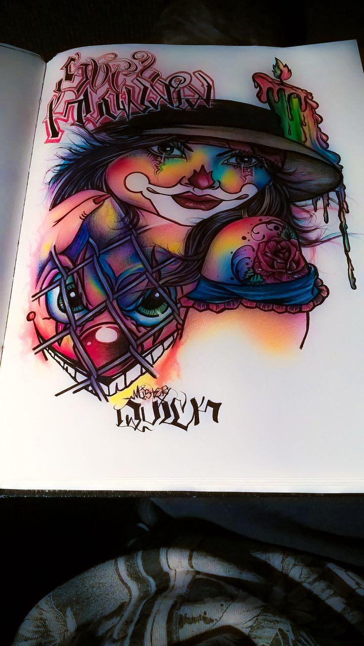 Chicano Art. Lowrider arte. Chicano arte. Female clown. Pencil drawings.