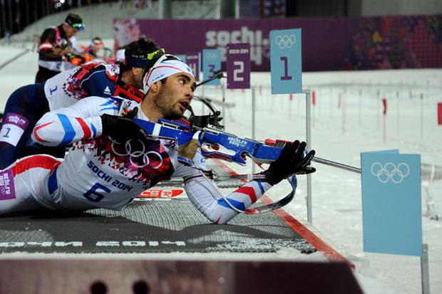 France's Martin Fourcade shoots in the Men's Biathlon 12.5 km Pursuit, Feb. 10, 2014. Fourcade won the gold. Credit: Kirill Kudryavtsev/AFP/Getty Images