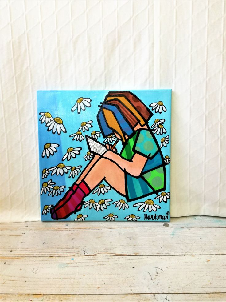 Girls Painting , Pop Art, Pop Art Painting, Girls Pop Art, Daisy Painting, Neo Pop Art, Original Painting, Colorful Pop Art, Reading Girl by MevrouwHartman on Etsy