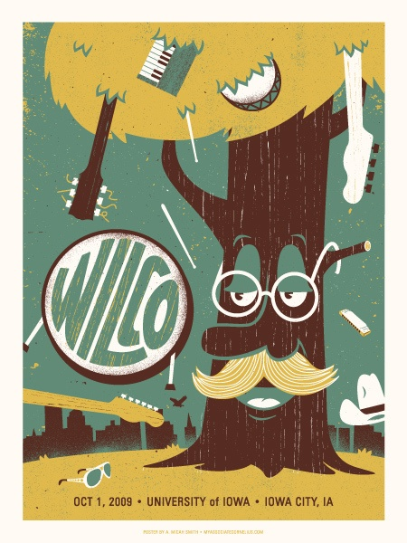 Wilco Concert Poster At The University Of Iowa Oct 2009 Hand Made Silkscreen Print Measures 18 Inches X 24 Signed Limited Edition 150