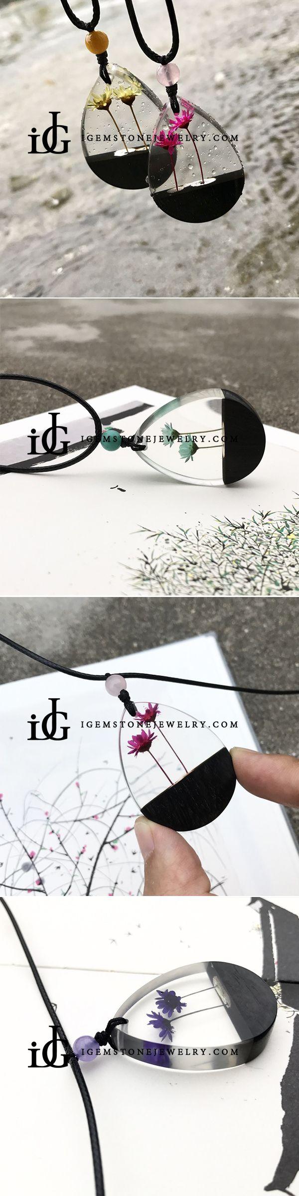 Herbage Resin Wood Pendant Necklace Handmade Jewelry Gift Women