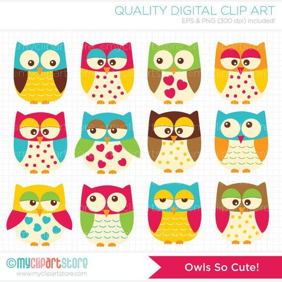 Cute Owls Clip Art / Digital Clipart - Instant Download