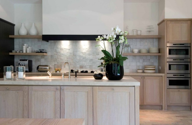 Contemporary kitchen, wood and zelliges, by belgian editor Beta Plus