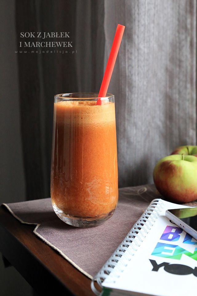 Świeżo wyciskany sok z jabłek i marchewki. Świetny na przeziębienie.