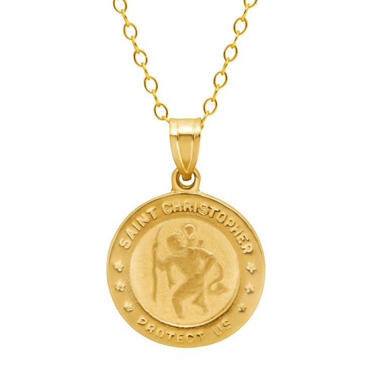 Just Gold St. Christopher Medallion Pendant Necklace in 10K Gold. Circular Medallion with Embossing. 'Saint Christopher Protect Us' Inscription. 10K Gold. Measures 7/8 by 5/8 Inches. 18-Inch Cable Chain.