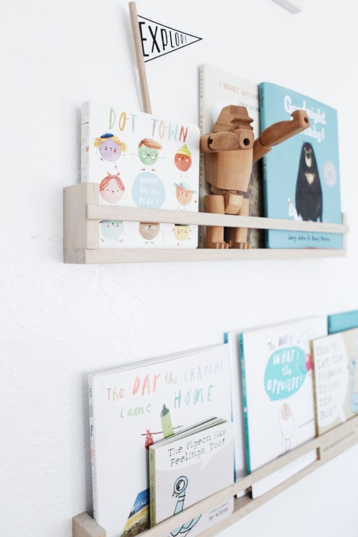Just the right size book ledge for  baby's first books.