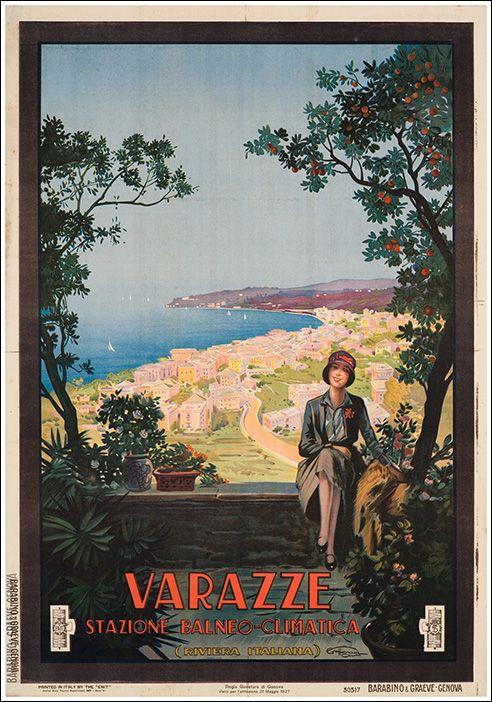 Vintage Italian Posters ~ #illustrator #Italian #vintage #posters ~ Varazze - Liguria - Riviera #essenzadiriviera