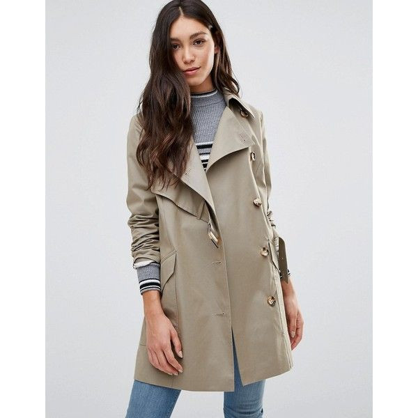 Cooper & Stollbrand Asymmetric Trench Coat In Stone ($265) ❤ liked on Polyvore featuring outerwear, coats, beige, lined trench coat, trench coat, brown trench coat, belted coat and asymmetrical coat