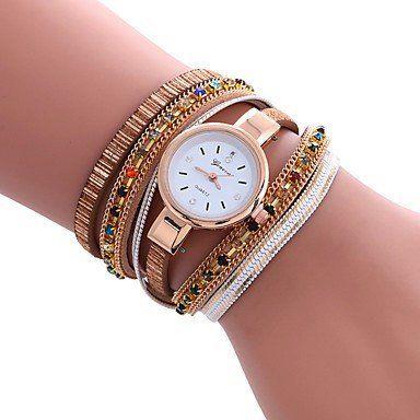 Modieuze armbandhorloge goud-rosé goud veelkleuren