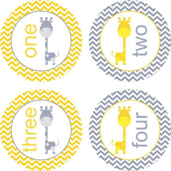 Mensual etiquetas engomadas del bebé del bebé pegatinas Neutral bebé mes hito adhesivos amarillo jirafa gris bebé mes pegatinas mensual mono Stickers