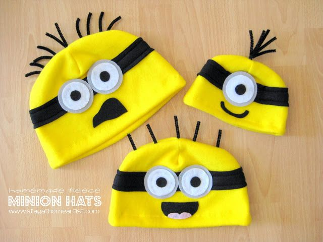 stayathomeartist.com: homemade fleece minion hats...