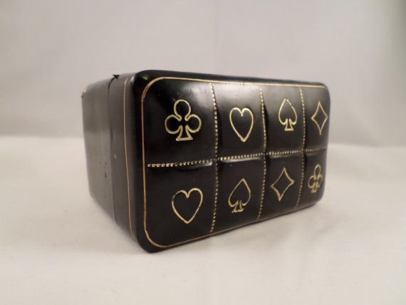 Vintage Genuine Italian Leather Playing Card Holder, PLaying Card Case, Bridge Deck Holder, Playing Cards, Bridge Deck, Vintage Games