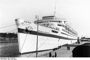 """""""Wilhelm Gustloff"""" was a German luxury liner converted as a troop/hospital ship. In the final days of WW2 the ship was being used to evacuate soldiers and civilians, as well as many wounded from the Russian onslaught. Overloaded with people desperate to escape, the ship was torpedoed by the Russians three times and sank in freezing water in 45 minutes. As many as 10,000 people died and this ranks as the worst maritime disaster in history. Bodies floated up on shore for weeks after the…"""