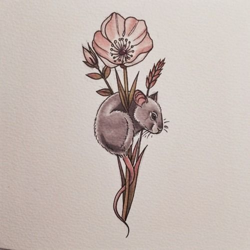 Field mouse with flower.