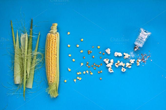 Pop-corn. Table top view. by kawizen  on @creativemarket #corncob #corn #sweetcorn #popcorn #pop #heat #process #processing #yellow #blue #field #symbol #symbolic #healthy #salt #crop #agriculture #farm #vegetarian #grain #vegetable #harvest #snack #cultivation #grown #veggie #healthyfood #poppingcorn #corngrain #tabletop #tabletopview #topview