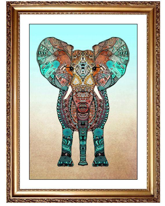 Stampa bohemien elefante Turquois Wall Decor di JoshandDavids
