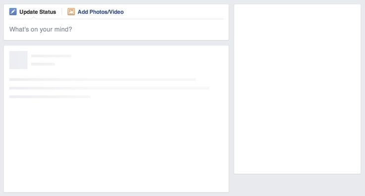 Intermediate state until real content is loaded in Facebook for desktop