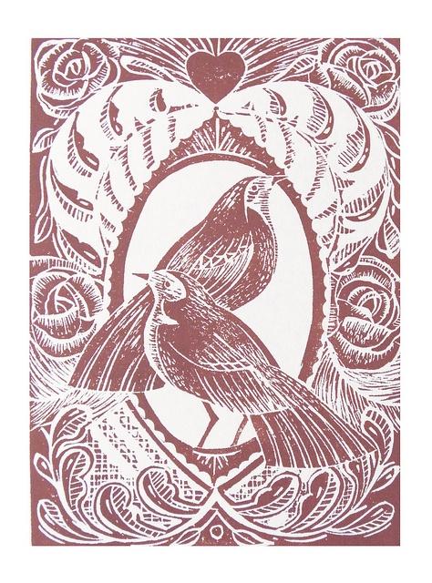Valentine Pink Lino Cut Print by Mangle Prints, via Flickr