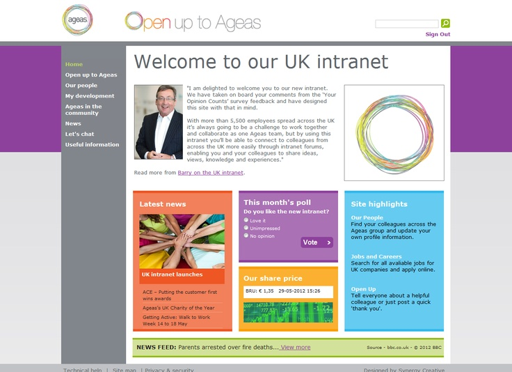 Best Intranet  Aegas UK  Implemented by Tellonline  Ageas UK is a leading provider of award-winning Personal and Commercial Lines insurance solutions and Life Protection insurance in the UK. The key objective was to develop the Ageas community; to bring the different businesses together through interactive functionality. http://www.kentico.com/Customers/Site-of-the-Year/Site-of-the-Year-2012