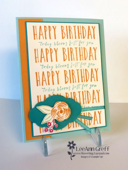 "Pool Party card 5 1/2"" X 8 1/2"" Peekaboo Peach strip 1 1/4"" X 5 1/4"" White layer 5"" X 3 1/2"" Bermuda Bay layer 5 1/8"" X 3 5/8"" Perennial Birthday"