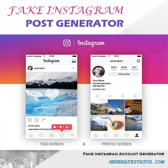 Generatestatus - Fake Instagram Post Generator and Fake