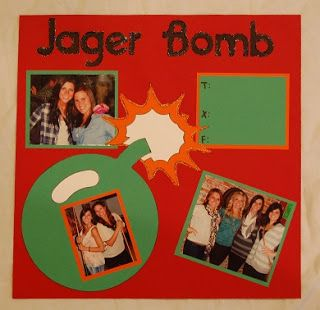 I used my cricut to cut out the images for my friend to create this Jager Bomb layout for her friend's Shot Album.