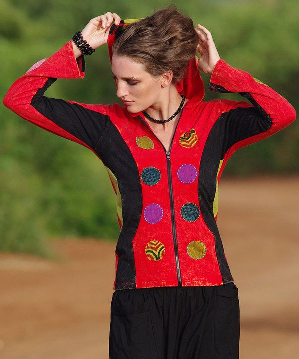 Love this Aller Simplement Red & Black Zip-Up Hoodie Jacket by Aller Simplement on #zulily! #zulilyfinds