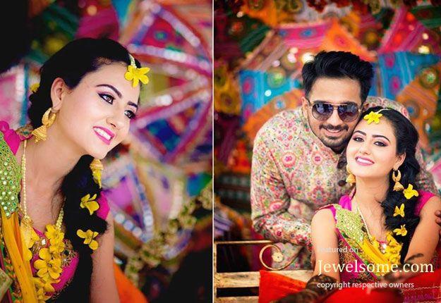Mira Rajput style fresh flower jewellery for mehndi function