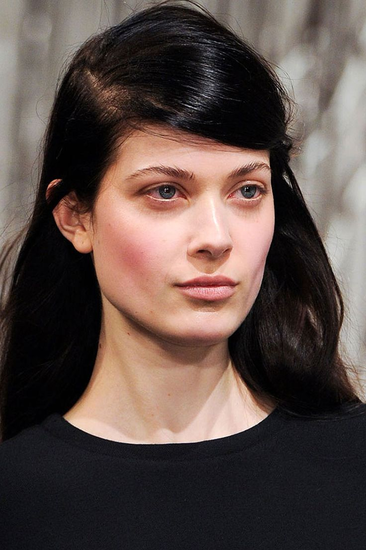 Opening Ceremony, NY AW 14/15, glossy pink lids and winter-flushed cheeks.