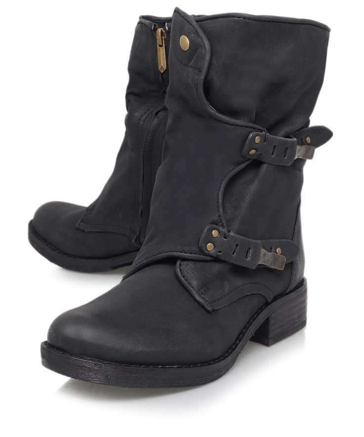Sam Edelman Black Ridge Dual-Buckle Leather Biker Boots | Women's Shoes | Liberty.co.uk