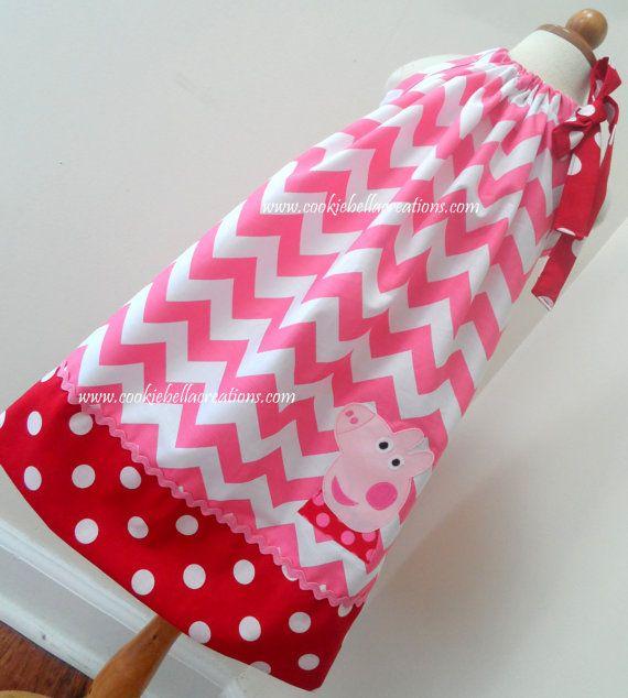 Posh Peppa Pig inspiré Chevron rose & par CookieBellaCreations