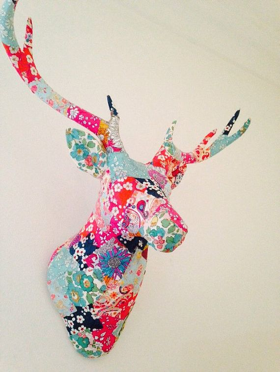 Liberty print patchwork decoupage wall mounted stags by deLury