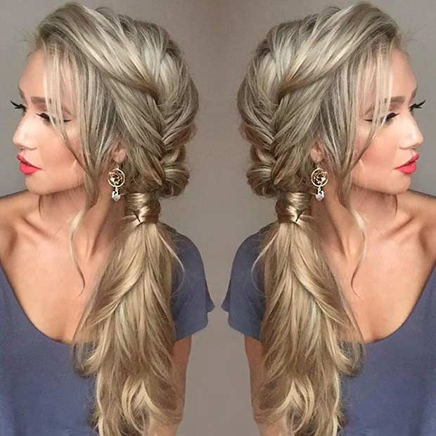 c891ab19c0a8e Messy Fishtail Braid into a Side Ponytail