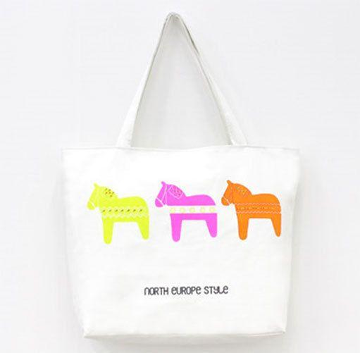 MIRINE New Cute Merry-Go-Round Mini Horse Zebra Eco Friendly Canvas Bag_2Options #MIRINE #EcoFriendlyBag