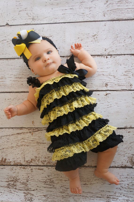 Bumble bee costume - Toddler - baby costume - Bee Costume - Bee Romper - Petti lace Romper - Lace Romper- Bumble bee Birthday - Romper on Etsy, $16.00