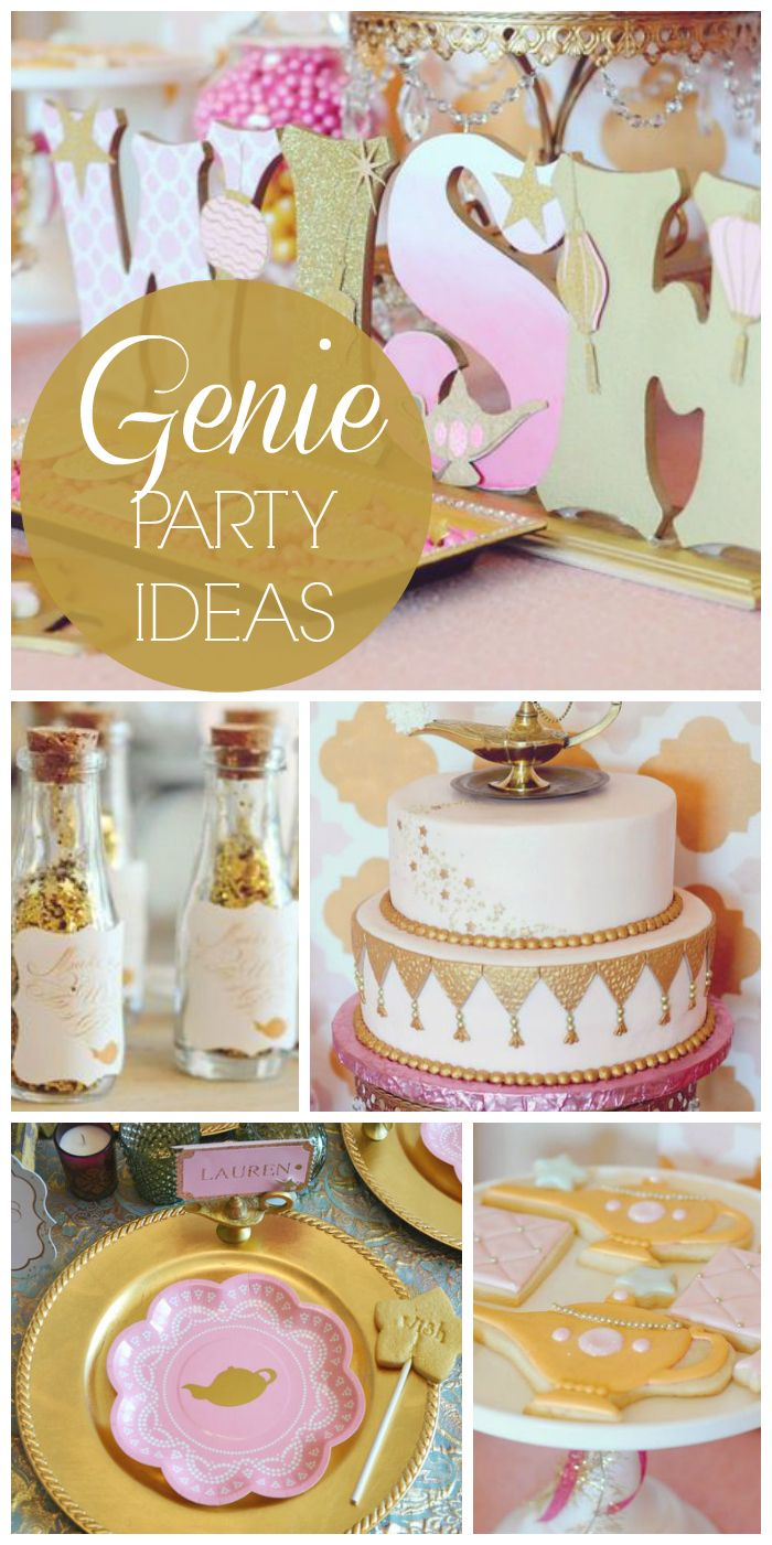 """""""Make a Wish"""" is the theme at this beautiful Genie girl birthday party!  See more party ideas at CatchMyParty.com!"""