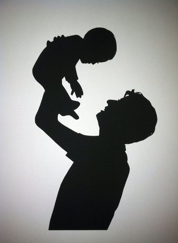 Parent and Child Hand Cut Custom Silhouette by PaperPortraits