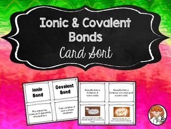 This activity will challenge your students to categorize ionic & covalent bonds. My 8th grade students have a lot of fun with this hands-on activity & I hope your students will too. :)