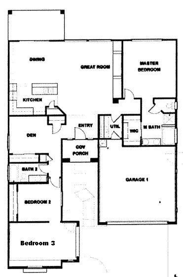 3 bedroom ranch floor plans verde ranch floor plan for Ranch house plans with bedrooms together