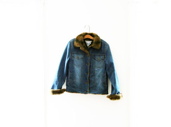 Vintage 80s Marvin Richards Blue Denim & Faux Fur Collar Jean Jacket Womens Size Small