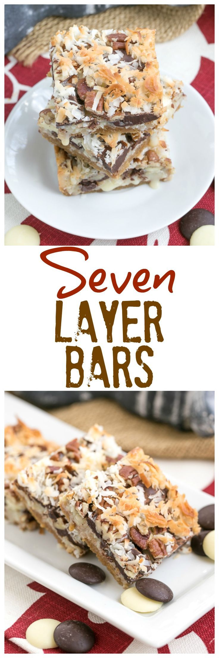 Seven Layer Bars | Graham cracker crust layered with 3 types of chocolate chips, sweetened condensed milk, coconut and pecans! @lizzydo