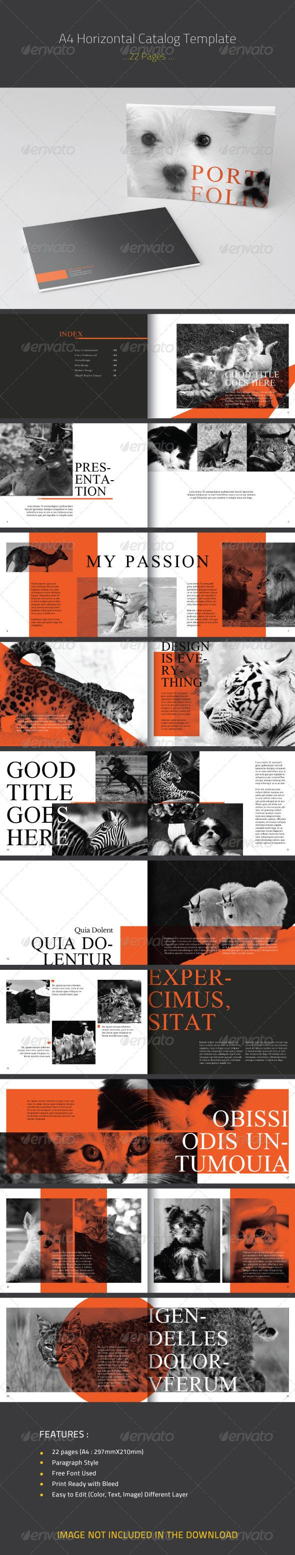 Horizontal Catalog A4 Template   Free Font Used  Print Ready with Bleed  Easy to Edit (Color, Text, Image) Different Layer  Adobe InDesign CS4 (indd) and CS3 (idml)  Automatic Page Number  Font Used :   Galatia-SIL  libre-baskerville  Photos used in the preview are not included                    Layered:   Yes                   Minimum Adobe CS Version:   CS3                   Print Dimensions:   21x29.7             Tags      a4