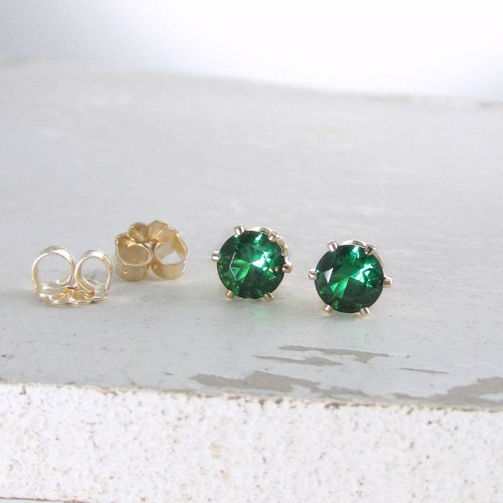 Gold Emerald Stud Earrings Emerald Birthstone Earrings May Birthstone Jewelry Gold Stud Earrings Green Emerald Earrings Holiday Gift For Her