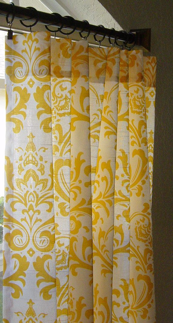 "Pair of TWO 50"" Wide Panels Damask Curtains Custom Drapes Yellow and White 63 84 96 108 120 Traditions"