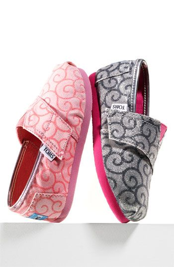 Want them both!!  -  TOMS 'Classic' Block Glitter Slip-On (Baby, Walker & Toddler)   Nordstrom
