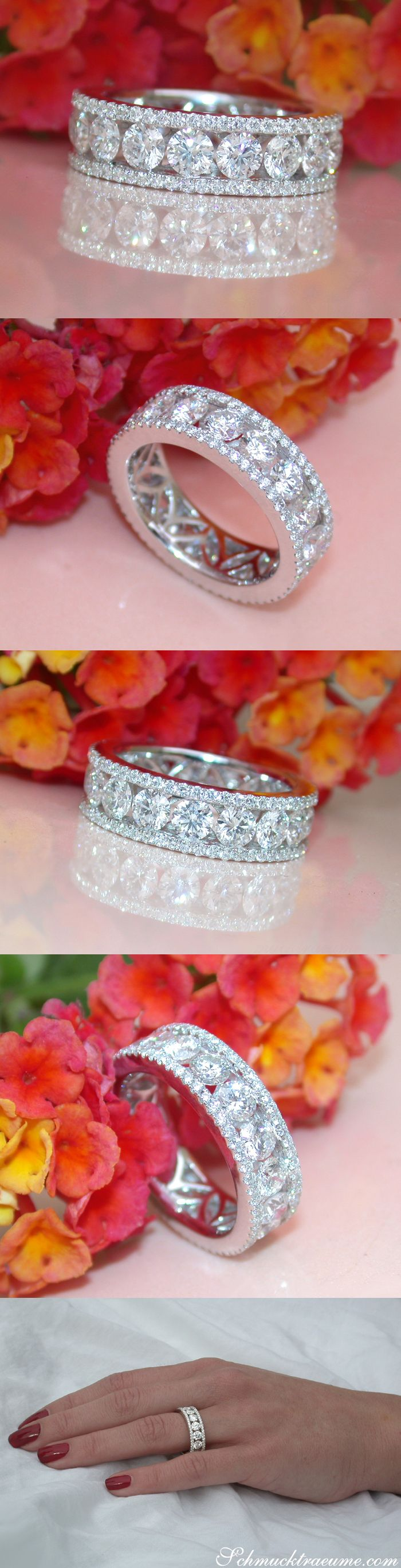 Precious Jewel: High Carat Diamond Eternity Ring, set with single 20-pointers | Edles Juwel: Hochkarätiger Brillanten Memory Ring | total: 4.18 ct. G VS | Whitegold 18k | Visit: schmucktraeume.com | Like: https://www.facebook.com/Noble-Juwelen-150871984924926/