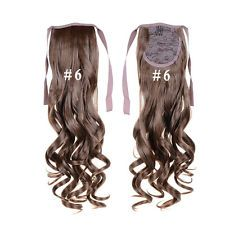 Women Long Curly Wave Medium Brown/Bleach Blond Clip In Ponytail Hair Extension