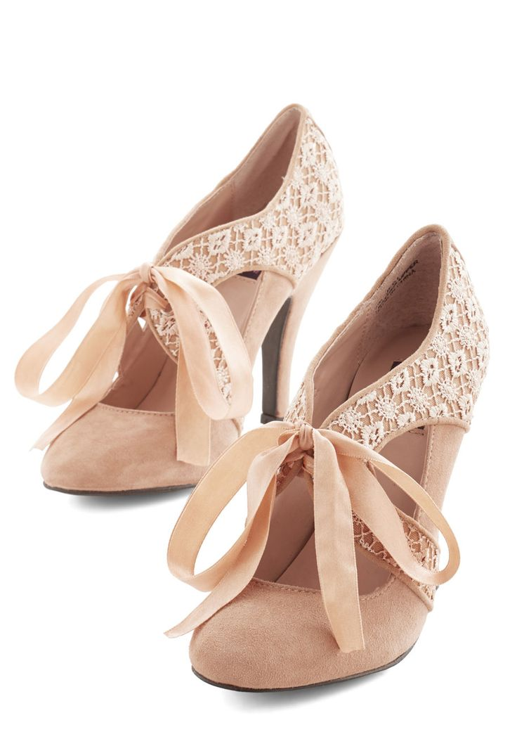 Air of Elegance Heel. Ground your look in utter elegance by tying the ribbon laces of these sandy-tan heels from Mojo Moxy before you take on the town! #tan #prom #wedding #bridesmaid #bride #modcloth